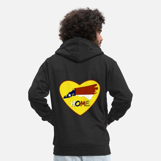 Love Hoodies & Sweatshirts - Home Tees: North Carolina Is My Home TShirt - Men's Premium Zip Hoodie black