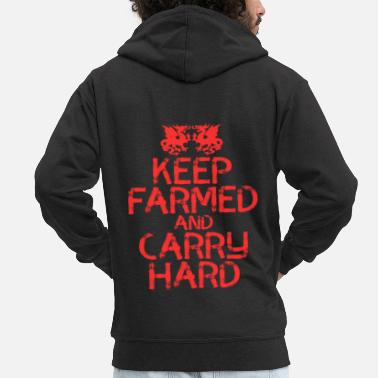 Texte Conception de t-shirt Keep Farmed And Carry Hard. Fait un - Veste à capuche Premium Homme