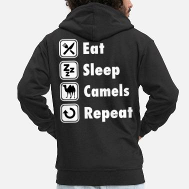 Sleeping TEE SHIRT - Eat Sleep Camels Repeat - Men's Premium Zip Hoodie