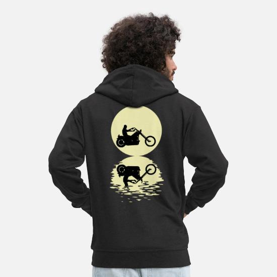 Biker Hoodies & Sweatshirts - The Biker And The Moon - Men's Premium Zip Hoodie black