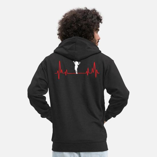 Career Hoodies & Sweatshirts - Hairstylist Heartbeat - Men's Premium Zip Hoodie black