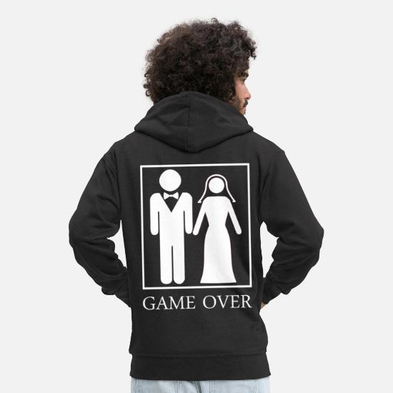 Game Hoodies & Sweatshirts - Wedding Game Over - Men's Premium Zip Hoodie black