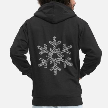 Binary Binary word cloud in snow form (white) - Men's Premium Hooded Jacket