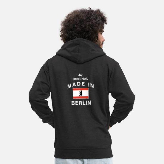 Berlin Hoodies & Sweatshirts - Made in Berlin capital Berlin bear flag - Men's Premium Zip Hoodie black