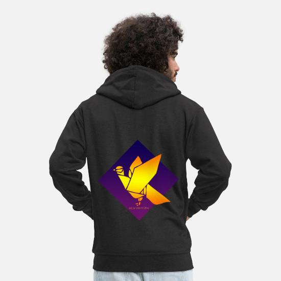 Blue Sky Hoodies & Sweatshirts - PEACE DOVE BIRD PURPLE BLUE ORIGAMI (poster) - Men's Premium Zip Hoodie black