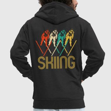 Awesome Retro Pop Art Skiing Gifts for Skiers. - Men's Premium Hooded Jacket