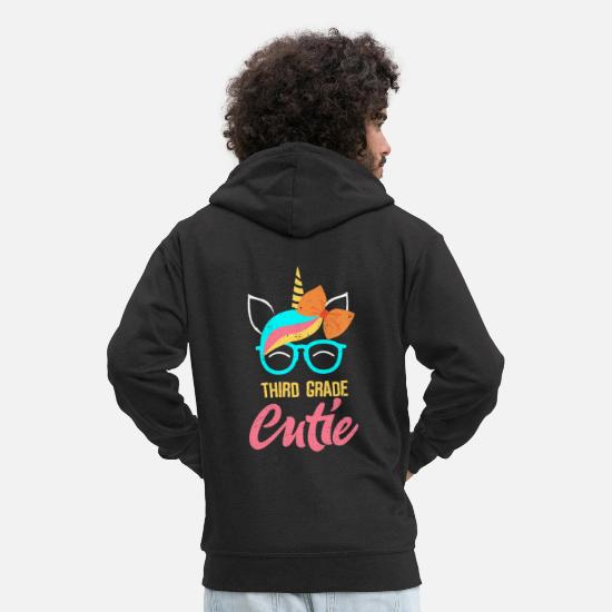 School Hoodies & Sweatshirts - Third Grade Cutie Unicorn - Men's Premium Zip Hoodie black