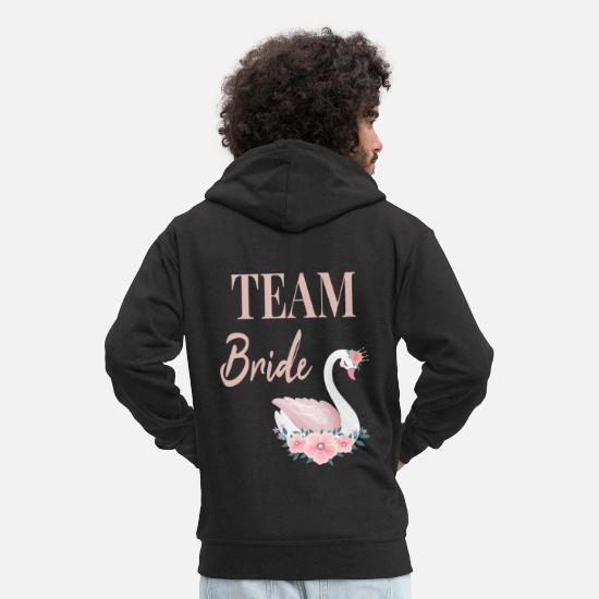 Bride Hoodies & Sweatshirts - Team Bride Bride Swan Swans JGA group shirt - Men's Premium Zip Hoodie black