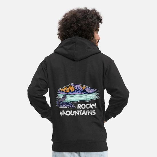 British Hoodies & Sweatshirts - Rocky Mountains gift - Men's Premium Zip Hoodie black