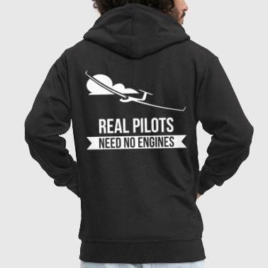 Real Pilots Need No Engines Gliding Flies - Men's Premium Hooded Jacket