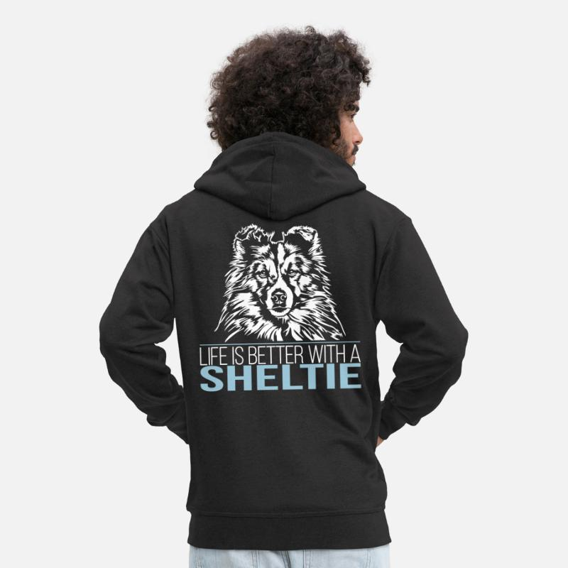 Agility Hoodies & Sweatshirts - LIFE IS BETTER WITH A SHELTIE - Men's Premium Zip Hoodie black