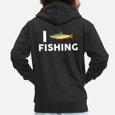 Comics I love fishing heart fishing fish saying fisherman - Men's Premium Zip Hoodie