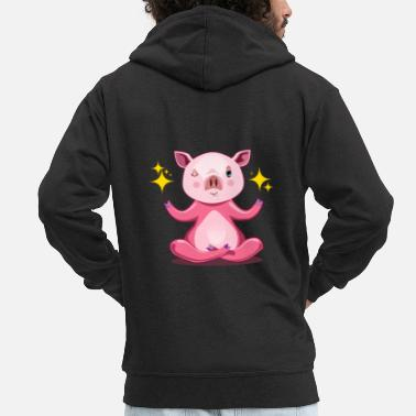 Hog Piggy the lucky piggy - Men's Premium Zip Hoodie