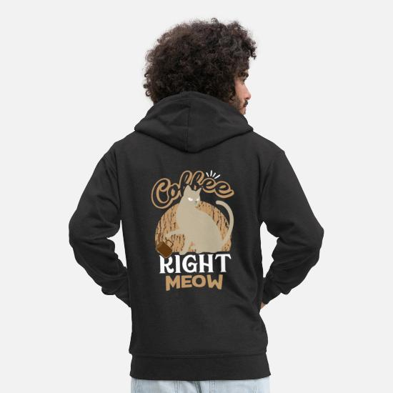 Espresso Hoodies & Sweatshirts - Coffee cat cup mug - Men's Premium Zip Hoodie black