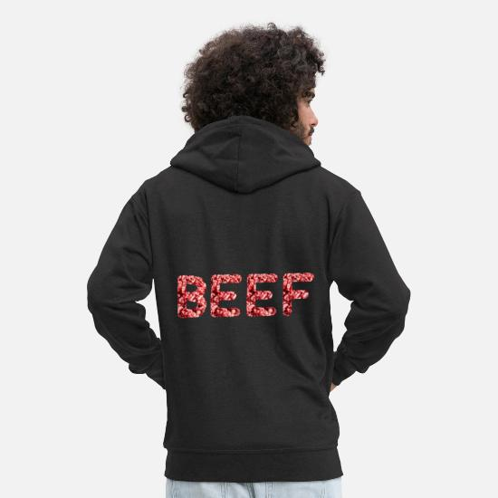 Love Hoodies & Sweatshirts - Animal Meat Beef Bacon Grilling Bbq Lover - Men's Premium Zip Hoodie black