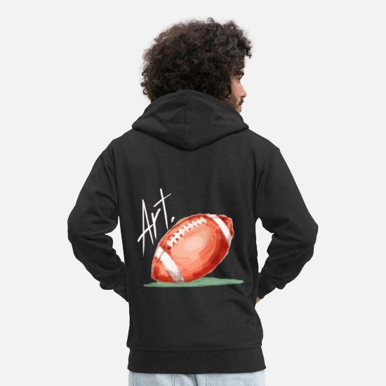 Football Pullover & Hoodies - American Football Kunst Leidenschaft Motivation - Männer Premium Kapuzenjacke Schwarz