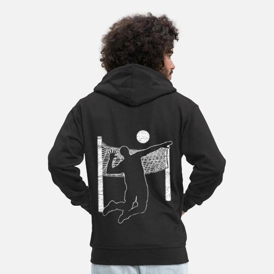 Physical Education Hoodies & Sweatshirts - Volleyball volleyball net sport gift - Men's Premium Zip Hoodie black