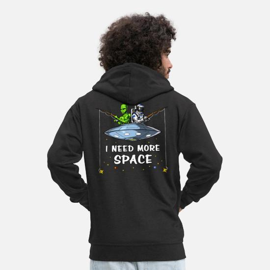 Galaxy Sweaters & hoodies - Space Alien Astronaut Fishing Funny Cosmic - Mannen premium zip hoodie zwart
