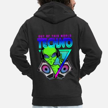 Acid House Techno Out of this World Alien Alien - Men's Premium Zip Hoodie