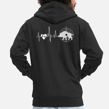 Hog Hog Hunting Heartbeat - Men's Premium Zip Hoodie