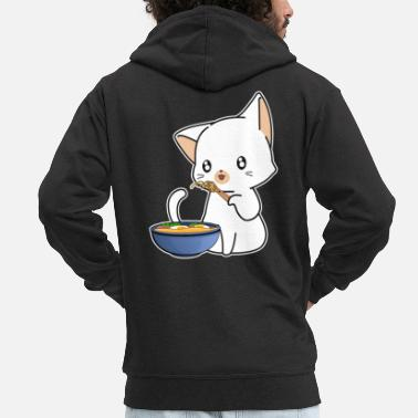 Manga Kawaii gatto gattino ramen noodles japan anime - Felpa con zip premium uomo