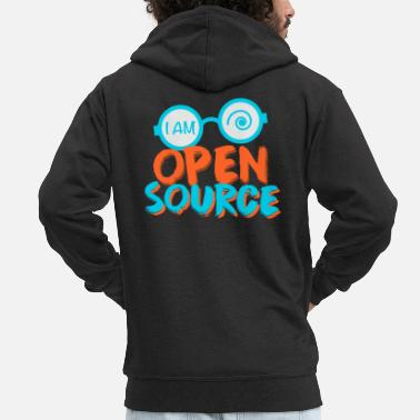 Open Io sono open source - Felpa con zip Premium da uomo
