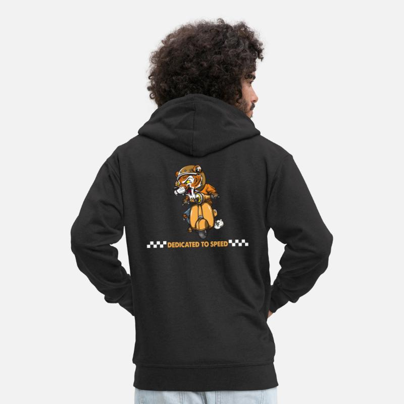 Motorcycle Hoodies & Sweatshirts - Dedicate to speed. Wild Tiger love moped Gifts. - Men's Premium Zip Hoodie black