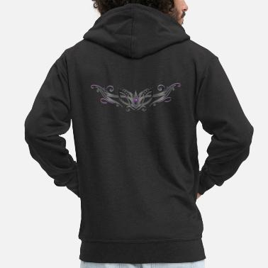 Filigree Tribal with gemstone, purple and black - Men's Premium Zip Hoodie