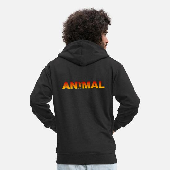 Body Builder Hoodies & Sweatshirts - Animal - Bodybuilding - Fitness - Bodybuilder - Men's Premium Zip Hoodie black