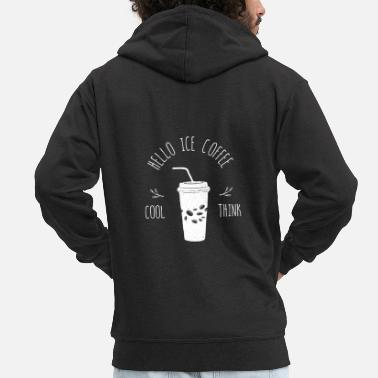 Café coffee iced coffee cool coffee lover - Men's Premium Zip Hoodie