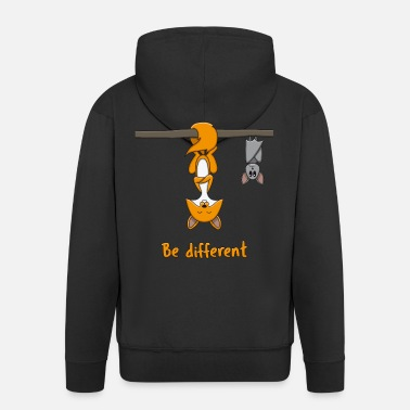 Fox Be Different Fox Bat Funny Gift - Men's Premium Hooded Jacket