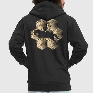 Horse Jumping Jumpers Jumping Horse Silhouette Golden Honeycomb Gift - Men's Premium Hooded Jacket