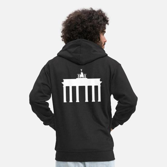 Bicycle Hoodies & Sweatshirts - Brandenburg Gate Bicycle - Men's Premium Zip Hoodie black