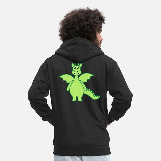 Cute Hoodies & Sweatshirts - dragon colour - Men's Premium Zip Hoodie black