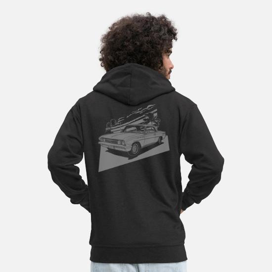 Car Hoodies & Sweatshirts - vintage car neg. - Men's Premium Zip Hoodie black
