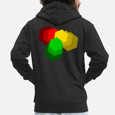 Dub Reggae red yellow green - Men's Premium Zip Hoodie
