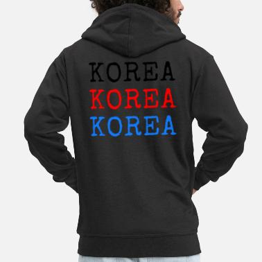 Language Korea - Black Red Blue - Men's Premium Zip Hoodie