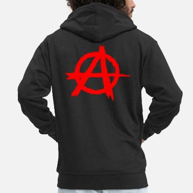 Anarchist Anarchy / anarchy silhouette symbol in red - Men's Premium Hooded Jacket
