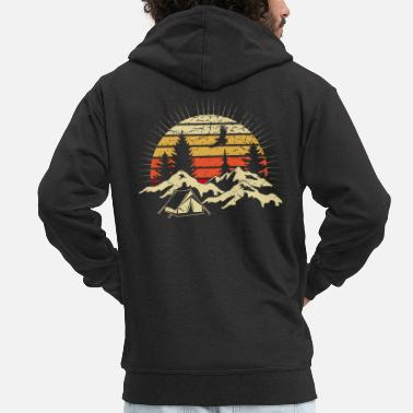 Caravan Camping sunset tents Mountains Wilderness - Men's Premium Zip Hoodie