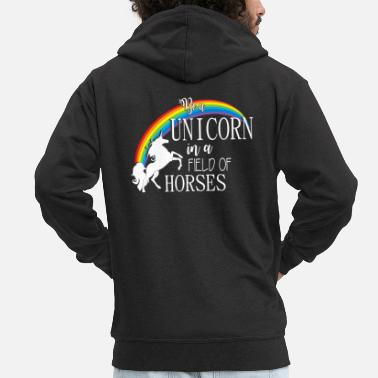 Romantisch Be a Unicorn in a field - Männer Premium Kapuzenjacke