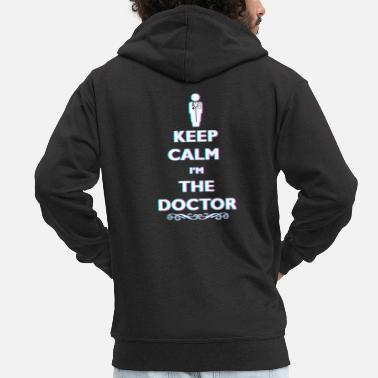 Anaglyph Keep Calm At The Doctor 3D Anaglyph Retro Doctor - Men's Premium Zip Hoodie