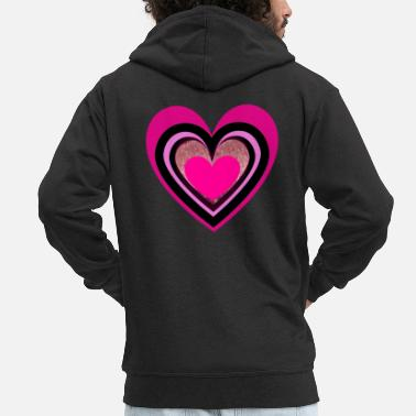 Tea Pink heart - Men's Premium Zip Hoodie