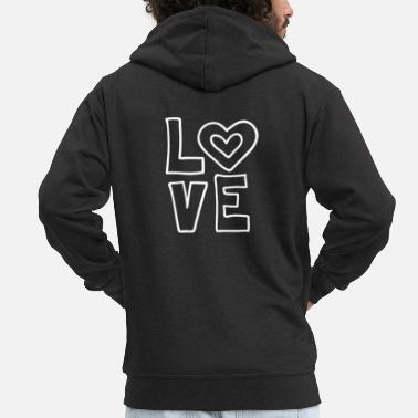 I Love Love love valentines day romantic heart heart kiss - Men's Premium Zip Hoodie