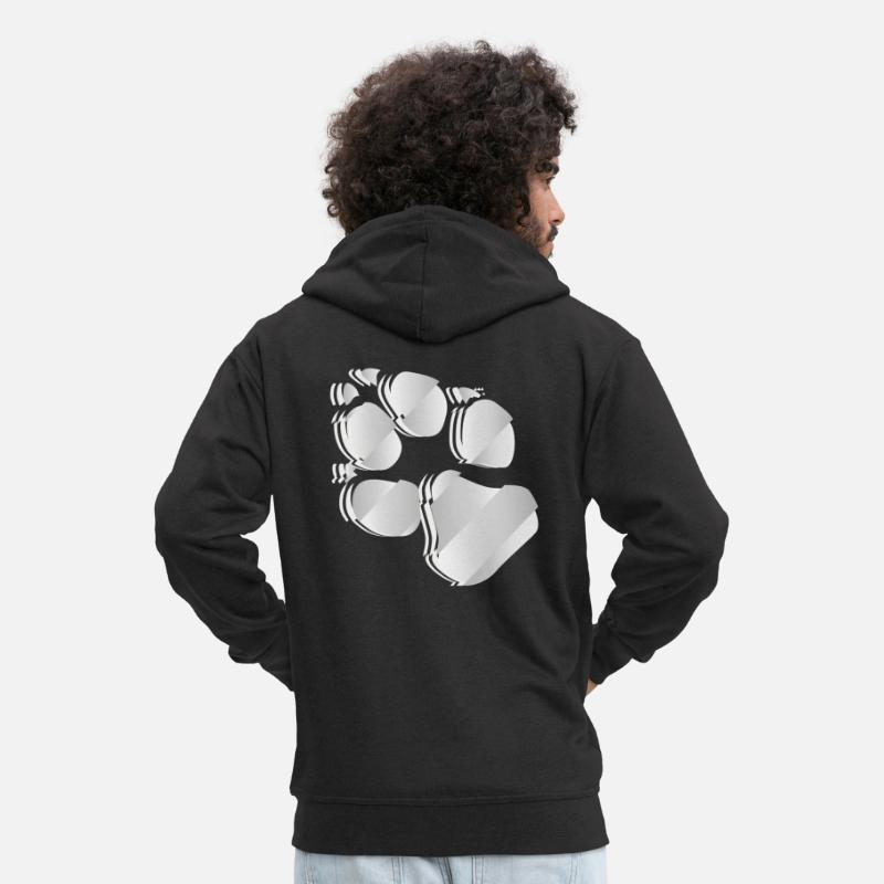 Dog Hoodies & Sweatshirts - Silver dog paw - Men's Premium Zip Hoodie black