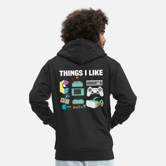 Love Hoodies & Sweatshirts - Things that a real gamer likes - Men's Premium Zip Hoodie black
