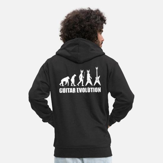 Guitar Player Hoodies & Sweatshirts - Guitar Evolution Funny Music T-Shirt - Men's Premium Zip Hoodie black