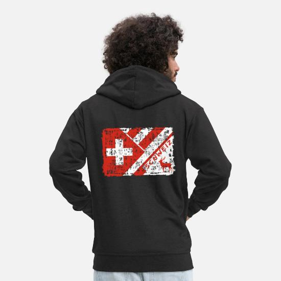 Gift Idea Hoodies & Sweatshirts - Switzerland vintage flags design with deer - Men's Premium Zip Hoodie black