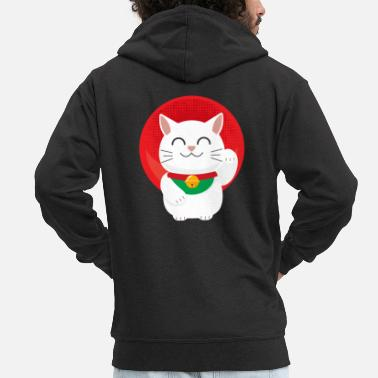 Japan Cat Maneki Neko Japan lucky cat gift - Men's Premium Zip Hoodie