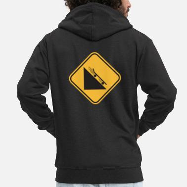 New Downhill Skateboard Warning Sign Funny Gift - Men's Premium Zip Hoodie