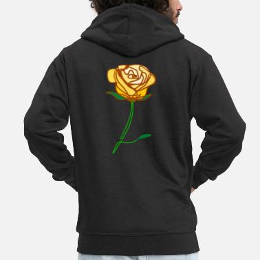 �❤️✦°Romantic Yellow Rose-Timeless Rose Line Art - Men's Premium Zip Hoodie